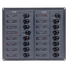BEP 12V DC CB PANEL 16 WAY SQUARE NO METERS