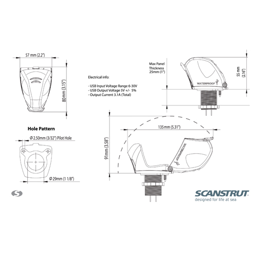 SCANSTRUT DUAL USB CHARGE SOCKET 12/24V WATERPROOF