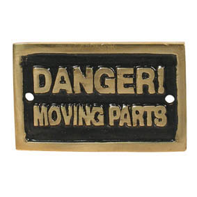 DANGER! MOVING PARTS (70x45) NAMEPLATE BR